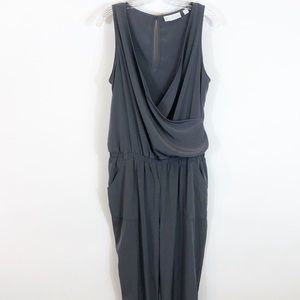 New York & Co Gray Cargo Style Jumpsuit Faux Wrap